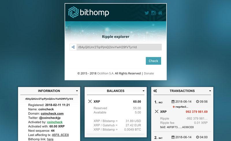 コインチェックのアドレス宛に送金されたリップル(bithomp.comから)