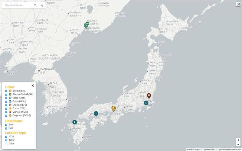 日本のビットコインATM設置台数(引用:coinatmradar.com)
