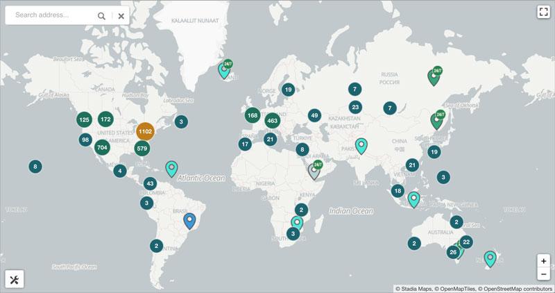 世界規模で見たビットコインATMの設置台数(引用:coinatmradar.com)