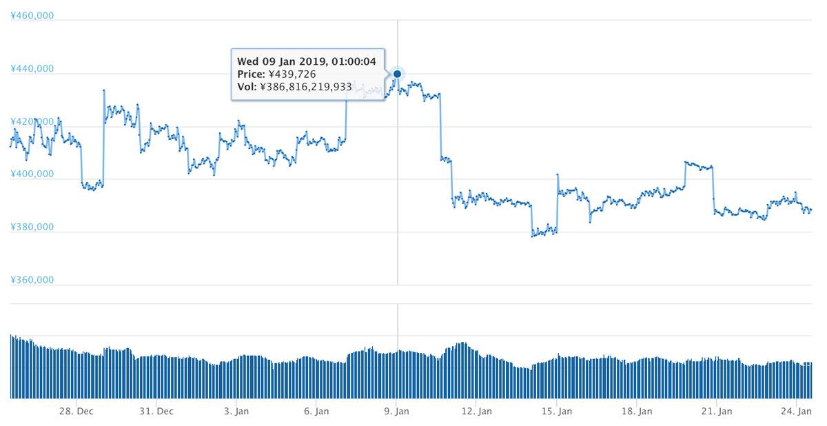 2018年12月25日〜2019年1月24日 BTCのチャート(引用:coingecko.com)