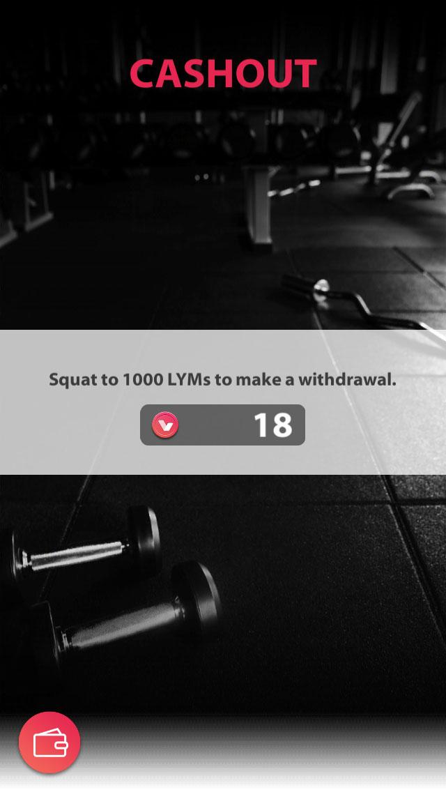 「Lympo Squat」アプリ内のウォレット画面