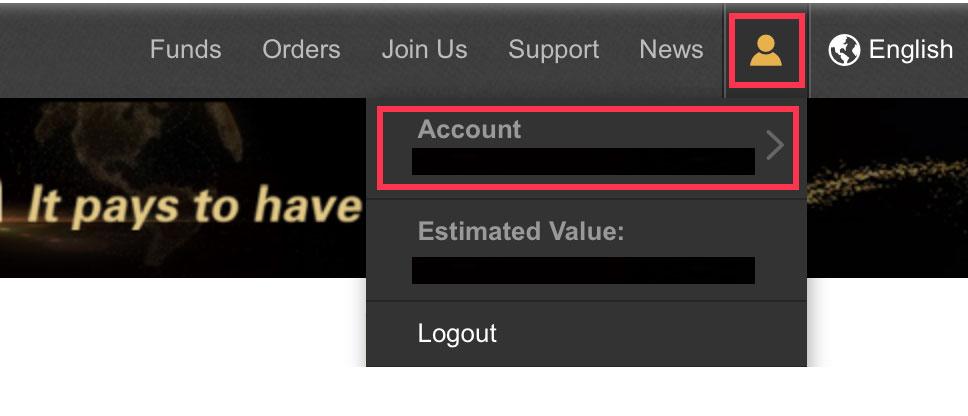 画面左上に表示される「人型のアイコン」と「Account」ボタン