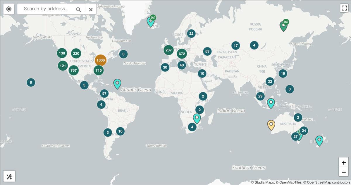 世界各国の「ビットコインATM」設置台数(画像:Coin ATM Radar)