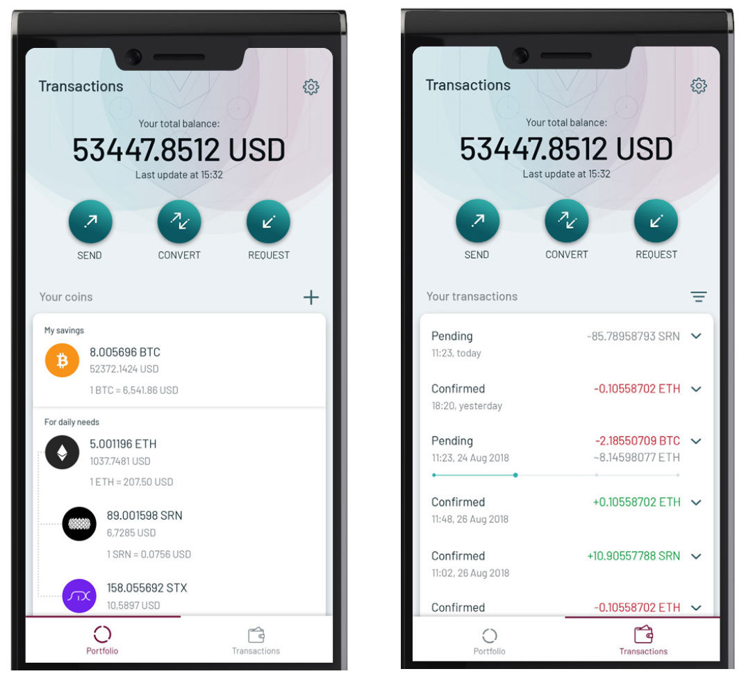 FINNEY Walletアプリ(画像:SIRIN LABS)