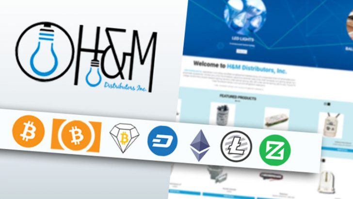 照明用品の卸売業者「H&M Distributors」が仮想通貨決済に対応|アメリカ