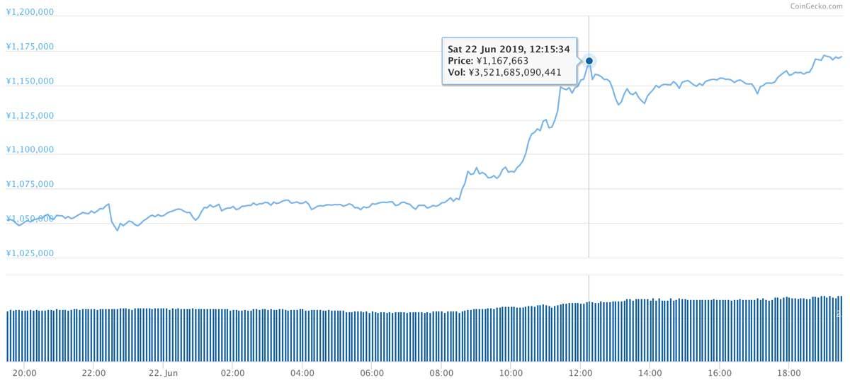 2019年6月21日〜2019年6月22日 BTCのチャート(引用:coingecko.com)