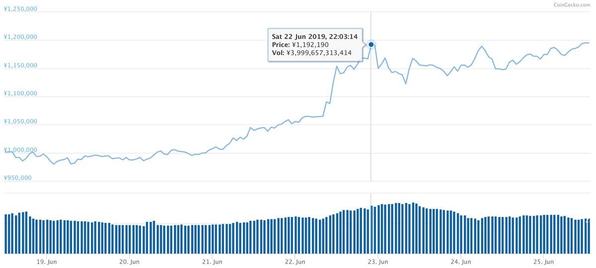 2019年6月18日〜2019年6月25日 BTCのチャート(引用:coingecko.com)