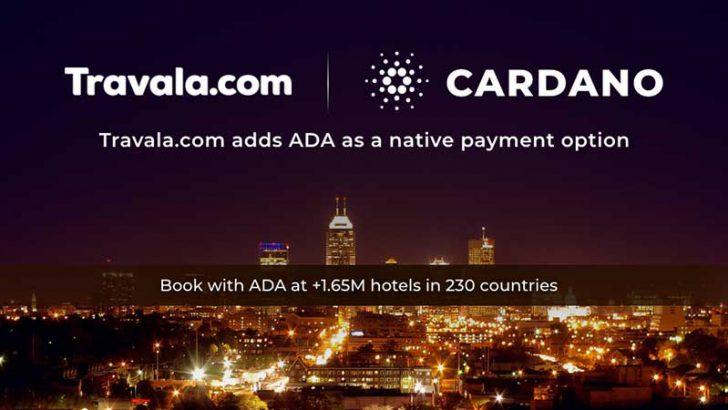 旅行ホテル予約サイトTravala.com「Cardano/ADA」決済に対応