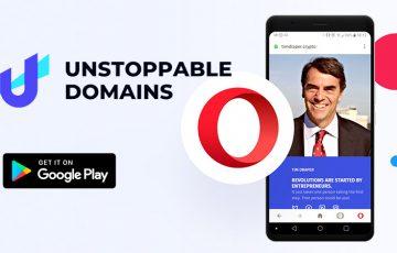 Operaブラウザ:Android版で「ブロックチェーンドメイン」をサポート