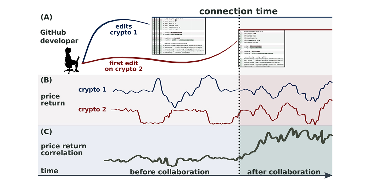 (画像:From code to market: Network of developers and correlated returns of cryptocurrencies)