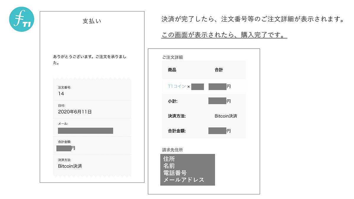 支払いが完了すると「注文番号などの注文詳細」が表示されます。この画面が表示されたら購入完了です。
