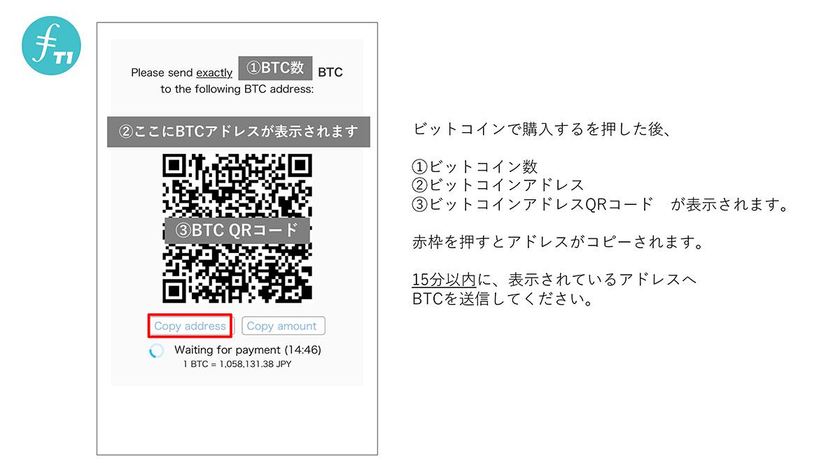 「表示されたBTC数量」を15分以内に表示された「BTCアドレス」へと送金します