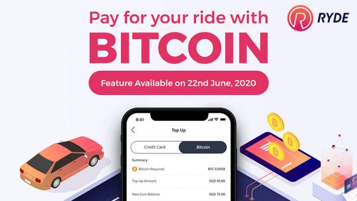 シンガポールのライドシェアアプリ「Ryde」ビットコイン決済対応へ