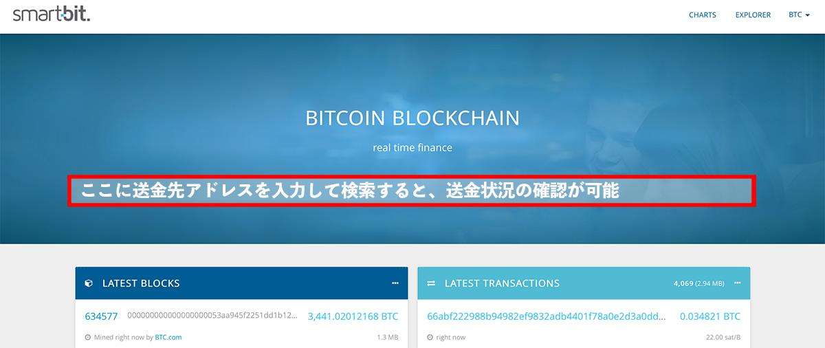 「SmartBit」のトップページ。検索欄にBTCを送金したアドレスを入力して検索すると、送金状況などの確認ができます。
