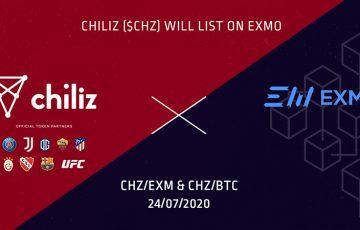 チリーズ(Chiliz/CHZ)ロシア語圏の大手暗号資産取引所「EXMO.COM」に上場