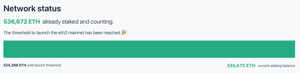 ステーキングのデポジット数が「524,288ETH」に到達(画像:launchpad.ethereum.org)