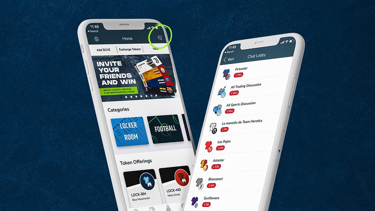 「チャット機能」はSociosアプリの右上隅にあるチャットアイコンをタップすることによって利用可能(画像:Socios.com)