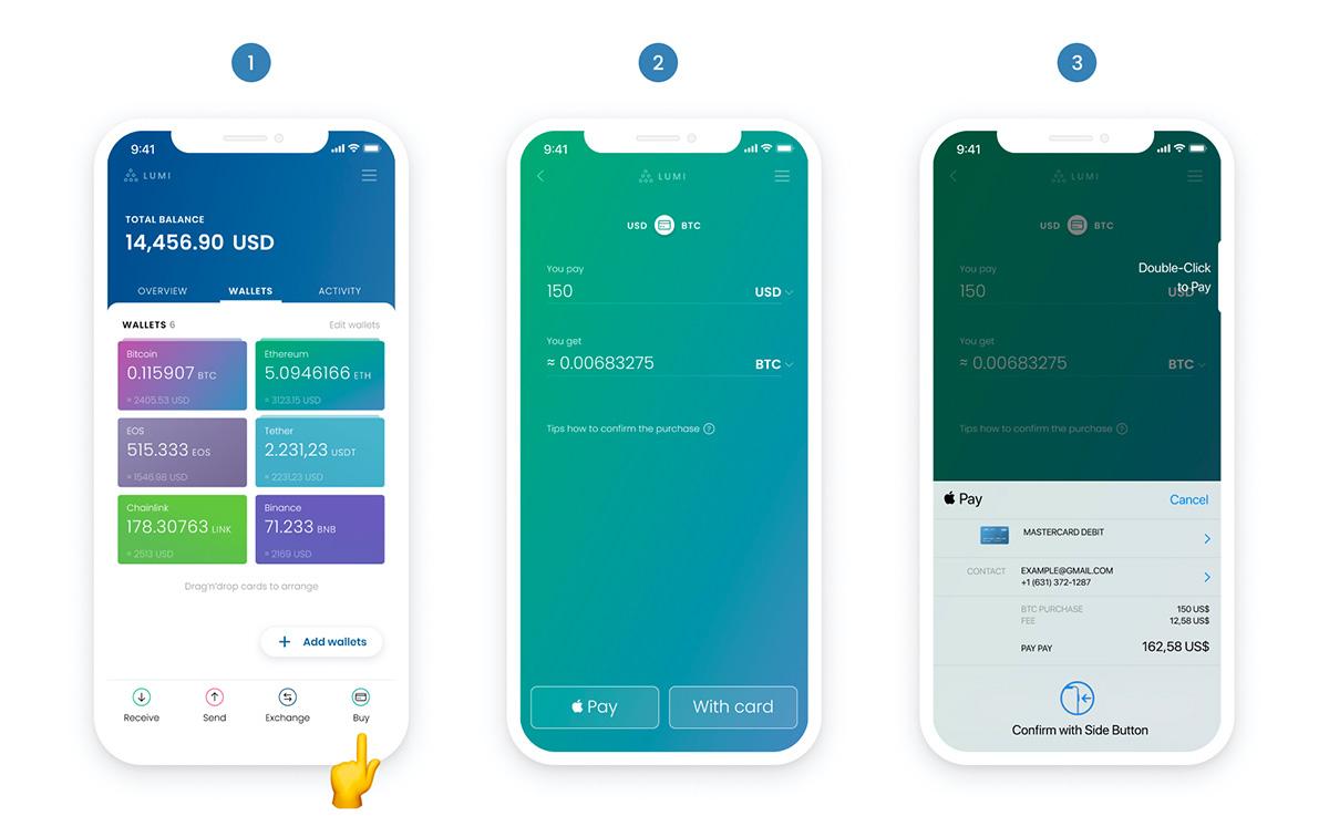Apple Payによる暗号資産の購入方法(画像:Lumi Wallet)