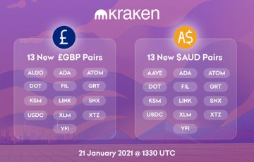 Kraken:14種類の暗号資産で「豪ドル・英ポンドの取引ペア」追加|ADA・XTZ・FILなど