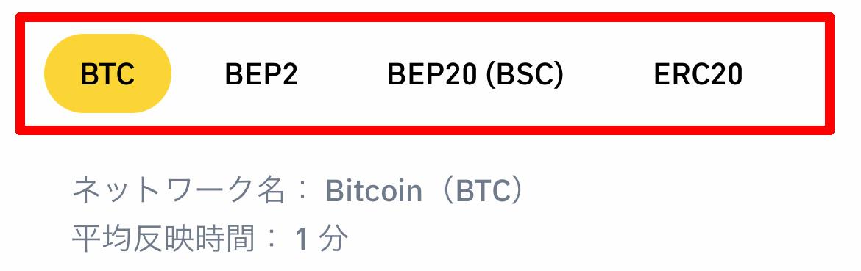 入金時に「ブロックチェーンの選択」を間違わないように注意してください